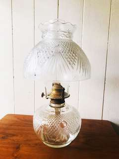Vintage Cut Glass Large-Sized Oil Lamp