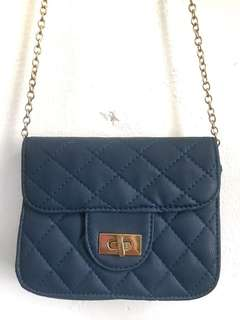 Navy Blue Chain Sling Bag
