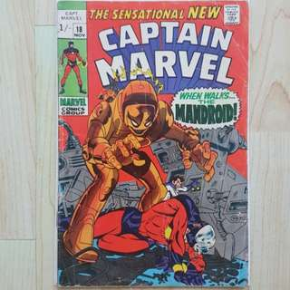 Marvel Comics Captain Marvel 18 Good Condition UK Pence Variant Silver Age Key