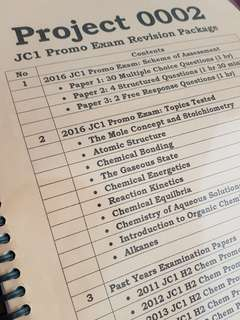 H2 Chemistry JC1 Promo Exam Revision Package