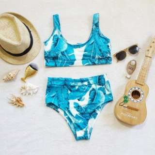 Tropical two piece highwaist bikini