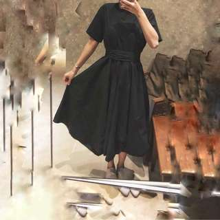 黑色長裙文青款initial style