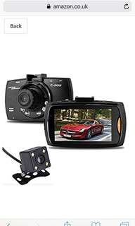 """C Pow 2.7"""" 1080p HD Dual lens in Car Dash Camera (Forward and Rear view) Video Recorder DVR with 170 Degree Wide Angle, 6-led night Vision, Loop Recording, Support 32G Memory Card"""