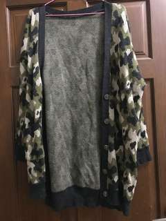 針織長版迷彩外套