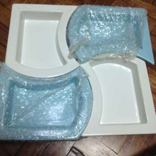 4pc set blue and white
