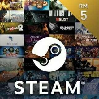 RM5 Steam wallet credit (Digital Code)