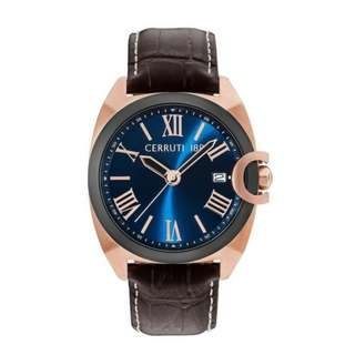 Cerruti 1881 Tramonti CTCRA183SRB03BR IP Rose Gold Watch With Brown Strap