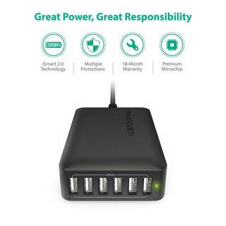 RAVPower 60W 6-Port USB Charging Station with 12A