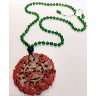 Antique Chinese old Jade Necklace and Pendant