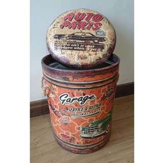 Funky Metal Tin Stool with Storage