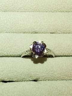 紫水晶玫瑰鋯石戒指s925