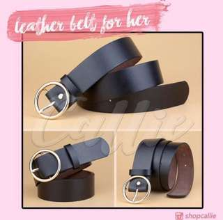 Leather Belt for Women Black with Gold Buckle
