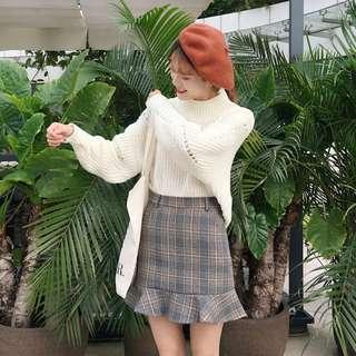 全新 女裝 Q201160 高腰氣質格子魚尾裙荷葉邊短裙半身裙顯瘦A字裙