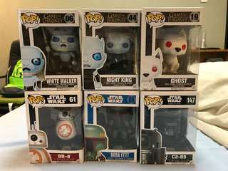 Funko Pop Star Wars and GOT Collection