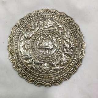 Antique Peranakan Nyonya silver repousse bantal end