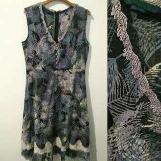 Korean Purple Leaf Long Dress