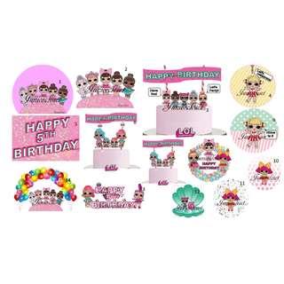 [Juniorcloset] 🆕 L.O.L Surprise dolls Birthday party LOL topper Tag Sticker Banner LOL Surprise Lol cake topper