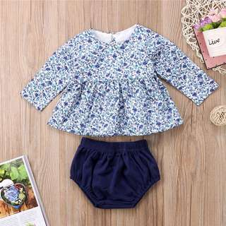 Instock - 2pc blue floral set, baby infant toddler girl children sweet kid happy abcdefgh so pretty