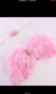 Handmade 1 Sets Newborn Birthday Girl Mini Pink Flowers Lace Headband & Rose Flower Feather Angel Wings Adjustable Costume