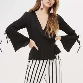 TOPSHOP wrap top with tie