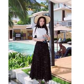 EE小舖~KTY6495#短款Polo針織衫+羽毛雪紡大擺長半身裙氣質套裝