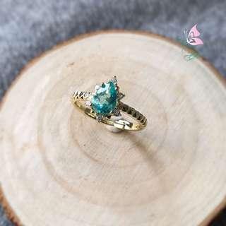純銀鍍金藍磷灰石戒指