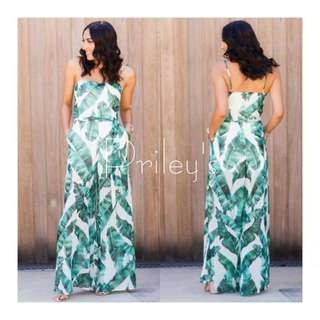 PALM PRINTED JUMPSUIT