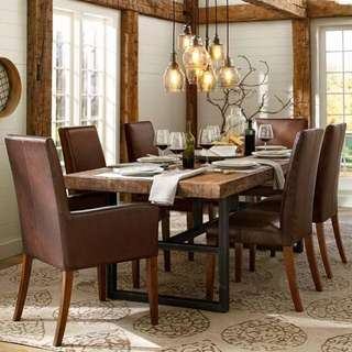American loft vintage solid wood metal dinning office table