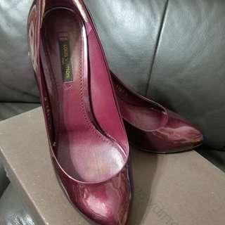 LV酒紅色漆皮高踭鞋 36.5碼 Louis Vuitton 名牌