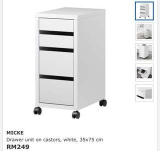 Ikea Micke (NEW IN BOX) Drawer Unit On Castor, White (36x75cm)