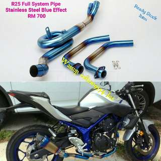 R25 Full System Pipe Stainless Steel with Blue Effect