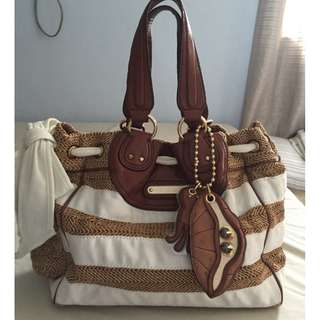 SALE! Juicy Couture Striped Straw Tote