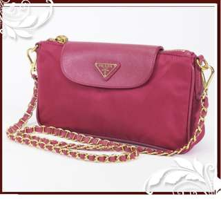 PRADA SHOUDLER BAG POUCH RARE PINK  NEARLY NEW (SHIP FROM JAPAN)
