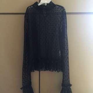 Zara black sheer top