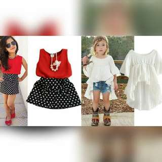 5-6 girls: top skirt outfit terno