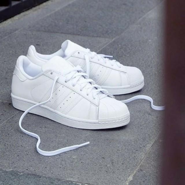 Adidas Superstar Fp Full White Fesyen Wanita Sepatu Di Carousell