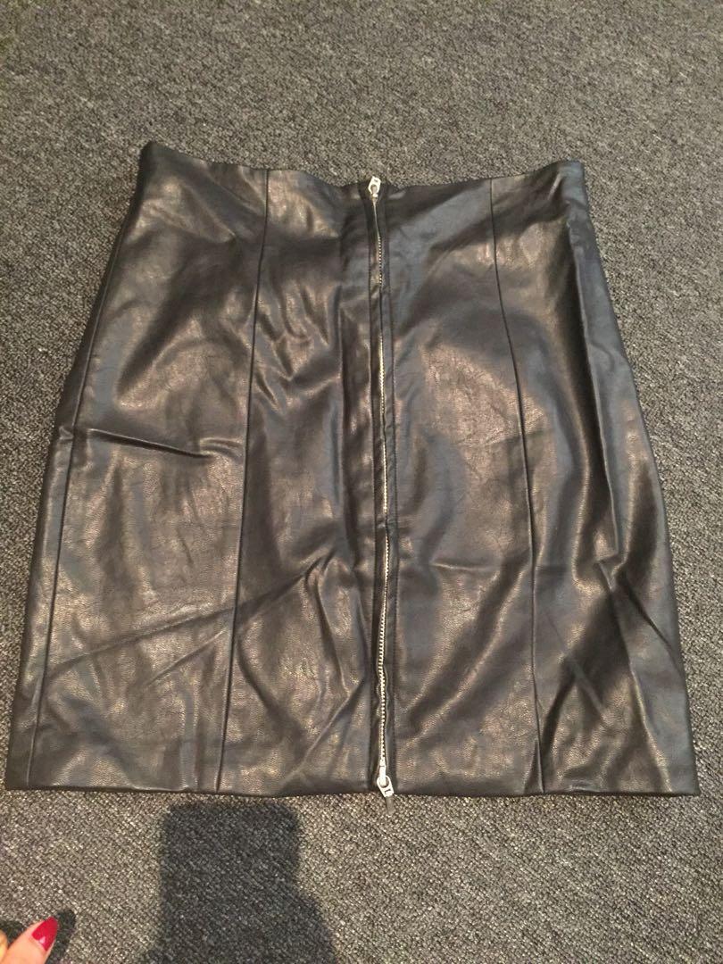 Bardot leather skirt with zip