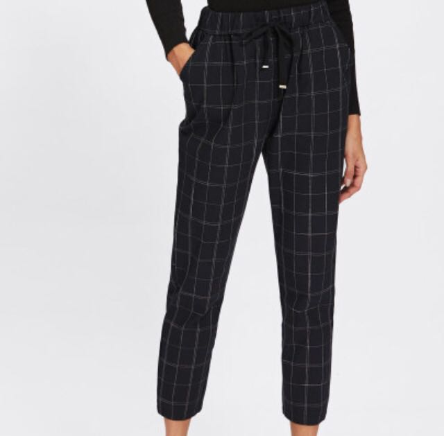 Black Cropped Grid Pants