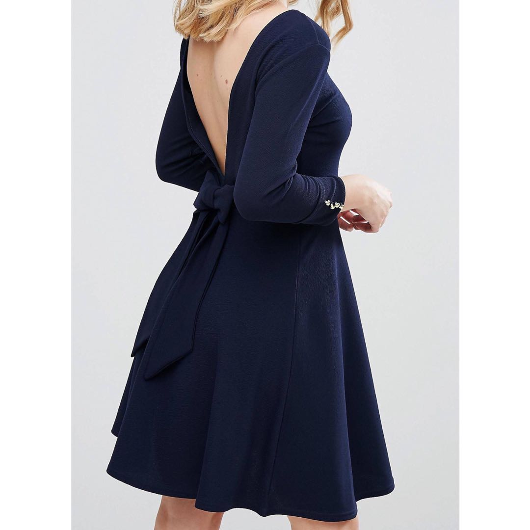 BNWT navy dress with bow back & button details