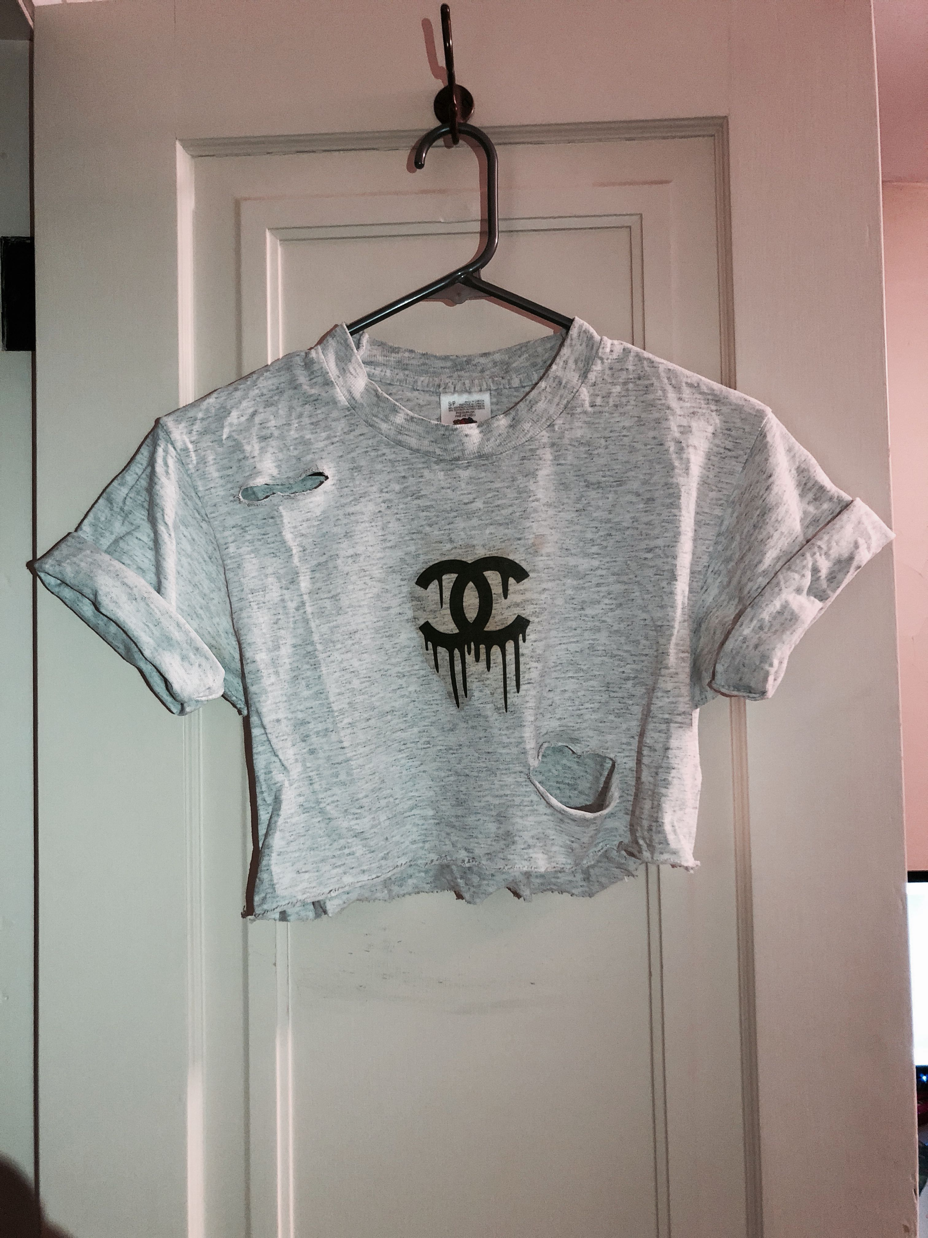 Dripping Chanel Distressed Crop Top