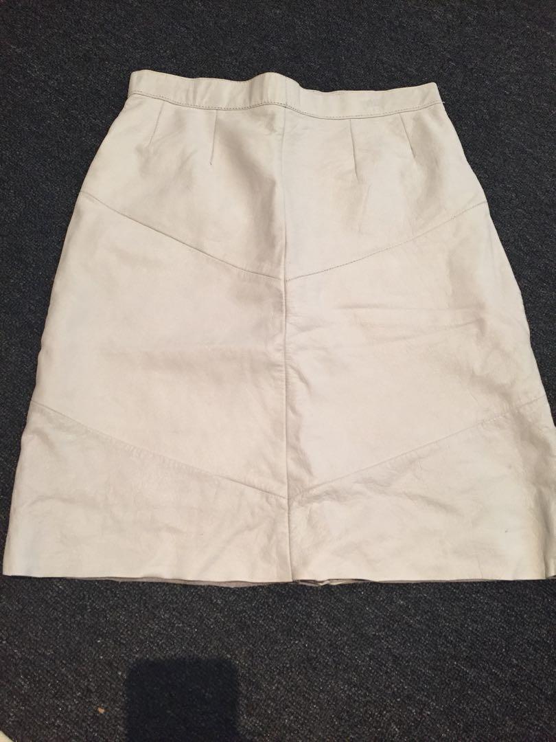 Genuine white leather skirt (high waisted)