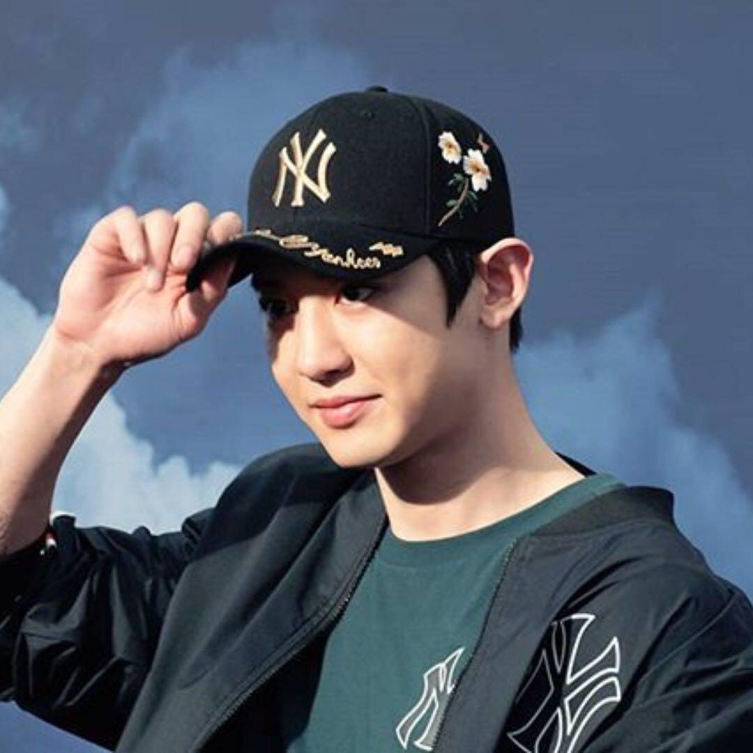 8722aaf56bd GO  EXO Chanyeol MLB Gold Bee Yankees Cap