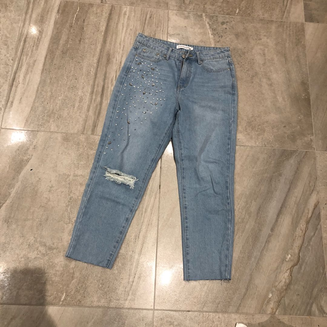 Light jeans with pearl detail