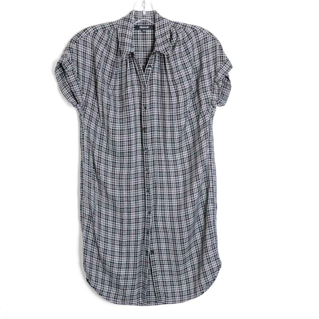 Madewell long short sleeve buttoned shirt. Plaid check blouse tunic. Size XS