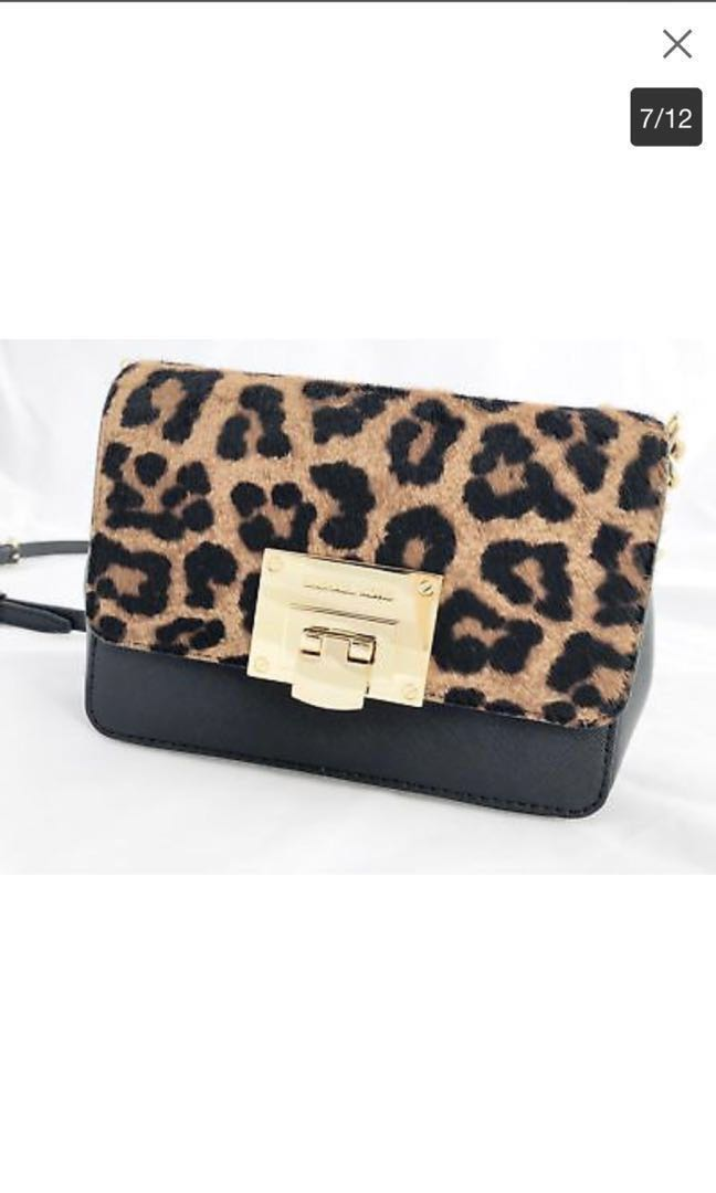 1220b909c101 Michael Kors leopard print real fur crossbody., Women's Fashion, Bags &  Wallets on Carousell