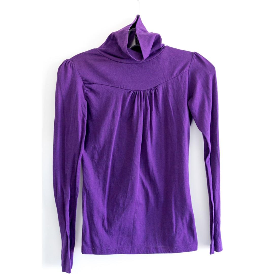 Purple turtle neck H&M top. Size S Cotton Office casual wear. Long sleeve blouse