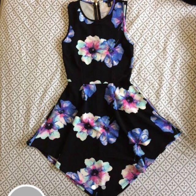 Skater botanical floral dress