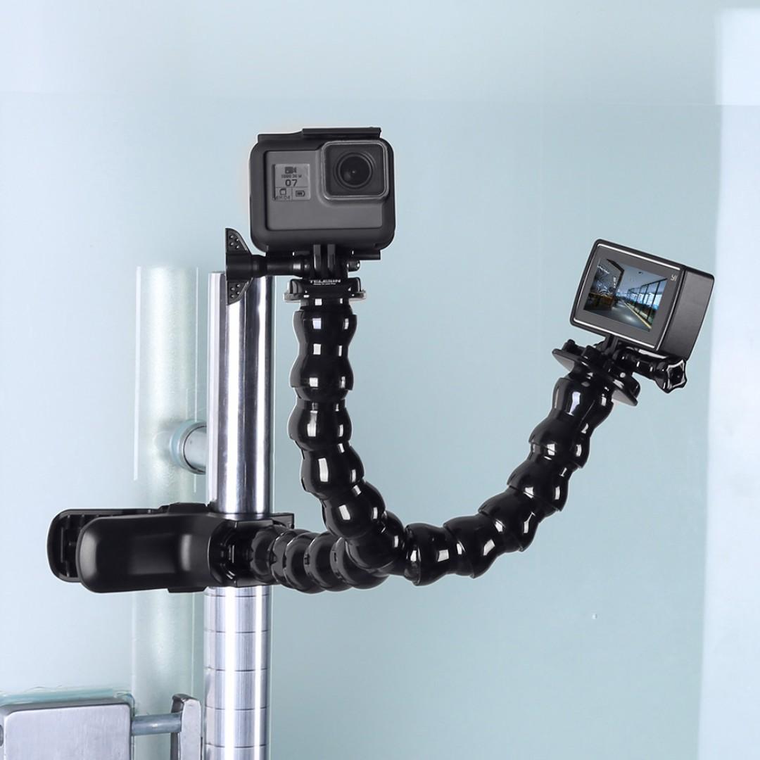 TELESIN 2-way Jaws Flex Clamp Mount with Adjustable Neck for GoPro Hero, SJCAM, Xiaomi XiaoYi