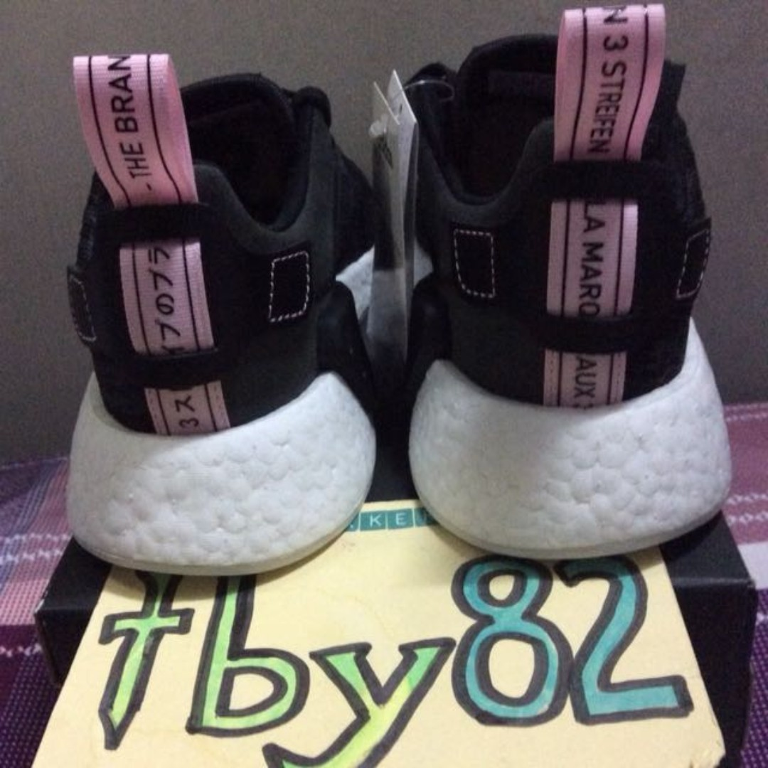 official photos e2a4c f3537 UK4.5 Adidas Womens NMD R2 Black Glitch Wonder Pink, Womens Fashion, Shoes  on Carousell