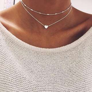 Silver heart double chain necklace (ONHAND)